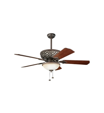 "Kichler 300113TZ Cortez 52"" Indoor Ceiling Fan with 5 Blades with Light Kit and Downrods"