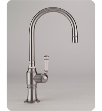 Jaclo 1073-WT-BSS Steam Valve Single Lever Kitchen Faucet With Finish: Brushed Stainless Steel And Handles: White Traditional Ceramic Lever Handles