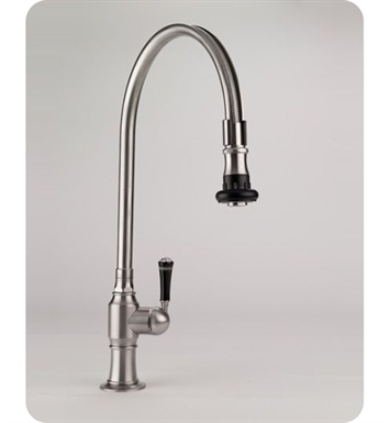 Jaclo 1072-BT-PSS Steam Valve Single Lever Kitchen Faucet With Finish: Polished Stainless Steel And Handles: Black Traditional Ceramic Lever Handles