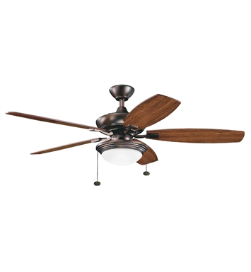 Kichler 300016OBB Indoor Ceiling Fan with 5 Blades with Light Kit and Downrod
