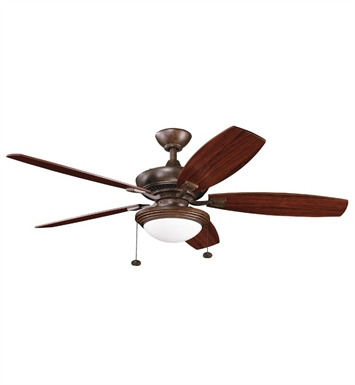 Kichler 300016TZ Indoor Ceiling Fan with 5 Blades with Light Kit and Downrod