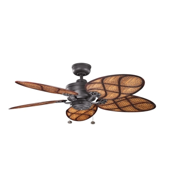 "Kichler 320510DBK Crystal Bay 52"" Outdoor Ceiling Fan and Downrod"