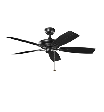 "Kichler 310192SBK Canfield Patio 52"" Outdoor Ceiling Fan with 5 Blades and Downrod"