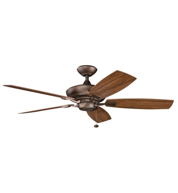 "Kichler 310192WSP Canfield Patio 52"" Outdoor Ceiling Fan with 5 Blades and Downrod"