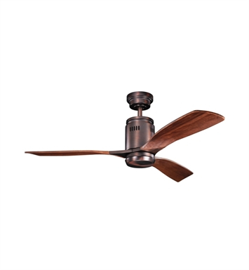 "Kichler 300145OBB Ridley 52"" Indoor Ceiling Fan with 3 Blades, Cool-Touch Remote and Downrod"