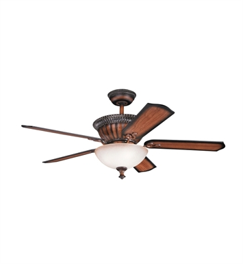 "Kichler 300012MDW Larissa 52"" Indoor Ceiling Fan with 5 Blades, Cool-Touch Remote and Downrod"
