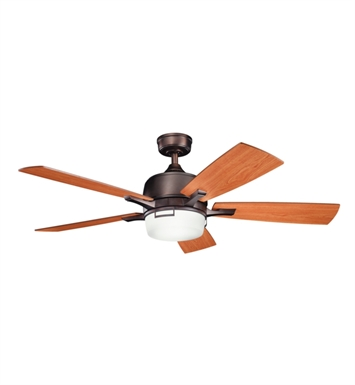 "Kichler 300427OBB Leeds 52"" Indoor Ceiling Fan with 5 Blades, Cool-Touch Remote and Downrod"