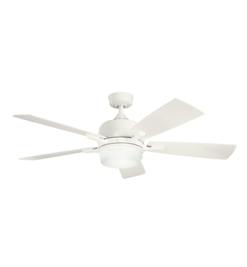 "Kichler 300427SNW Leeds 52"" Indoor Ceiling Fan with 5 Blades, Cool-Touch Remote and Downrod"