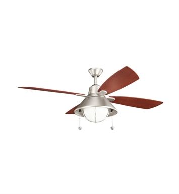 "Kichler 310131NI Seaside 54"" Outdoor Ceiling Fan with 4 Blades, Light Kit and Downrod"