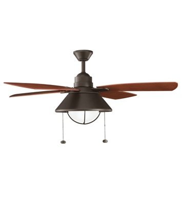 "Kichler 310131OZ Seaside 54"" Outdoor Ceiling Fan with 4 Blades, Light Kit and Downrod"