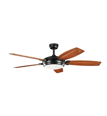 "Kichler 300156SBK Trevor 60"" Indoor Ceiling Fan with 5 Blades, Cool-Touch Remote and Downrod"