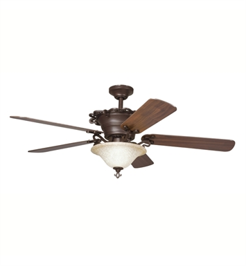 "Kichler 300006CZ Wilton 60"" Indoor Ceiling Fan with 5 Blades, Cool-Touch Remote and Downrods"