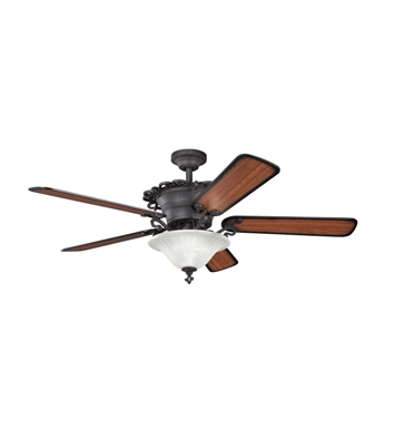 "Kichler 300006DBK Wilton 60"" Indoor Ceiling Fan with 5 Blades, Cool-Touch Remote and Downrods"
