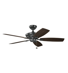 "Kichler 320500SBK Climates 52"" Outdoor Ceiling Fan Less Blades and Downrod"