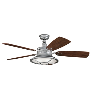 "Kichler 310102GST Harbour Walk Patio 52"" Outdoor Ceiling Fan with 5 Blades, Cool-Touch Remote and Downrod"