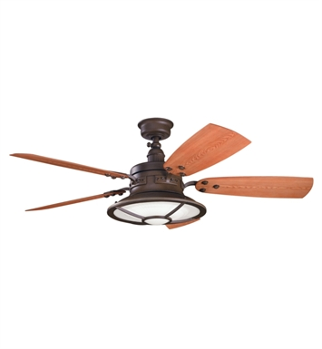 "Kichler 310102TZP Harbour Walk Patio 52"" Outdoor Ceiling Fan with 5 Blades, Cool-Touch Remote and Downrod"