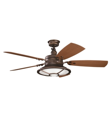 "Kichler 310102WCP Harbour Walk Patio 52"" Outdoor Ceiling Fan with 5 Blades, Cool-Touch Remote and Downrod"