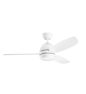 "Kichler 300175WH Vassar 52"" Indoor Ceiling Fan with 3 Blades, Cool-Touch Remote and Downrod"