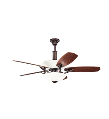 "Kichler 300126OBB Palla 56"" Indoor Ceiling Fan with 5 Blades, Cool-Touch Remote and Downrod"