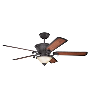 "Kichler 300010DBK High Country 56"" Indoor Ceiling Fan with 5 Blades, Cool-Touch Remote and Downrod"