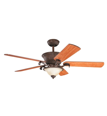 "Kichler 300010TZG High Country 56"" Indoor Ceiling Fan with 5 Blades, Cool-Touch Remote and Downrod"