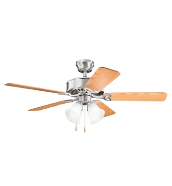 "Kichler 339240BSS Renew Premier 50"" Indoor Ceiling Fan with 5 Blades and Downrod"