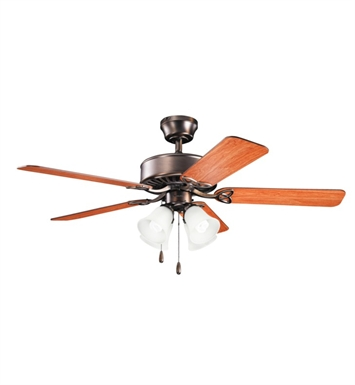 "Kichler 339240OBB Renew Premier 50"" Indoor Ceiling Fan with 5 Blades and Downrod"