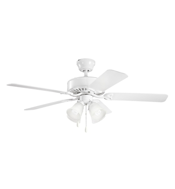 "Kichler 339240WH Renew Premier 50"" Indoor Ceiling Fan with 5 Blades and Downrod"