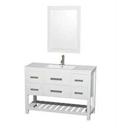 "Natalie 48"" Single Sink White Bathroom Vanity Set by Wyndham Collection"