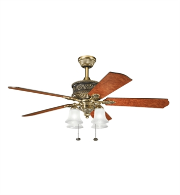 "Kichler 300161BAB Corinth 52"" Indoor Ceiling Fan with 5 Blades and Downrod"
