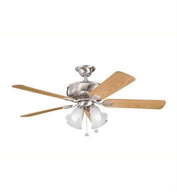"Kichler 339401BSS Saxon Premier 52"" Indoor Ceiling Fan with 5 Blades and Downrod"