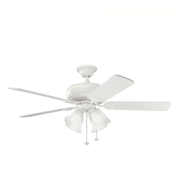 "Kichler 339401SNW Saxon Premier 52"" Indoor Ceiling Fan with 5 Blades and Downrod"