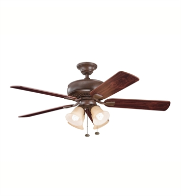 "Kichler 339401TZ Saxon Premier 52"" Indoor Ceiling Fan with 5 Blades and Downrod"