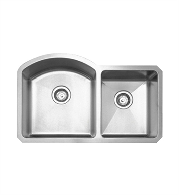 Whitehaus WHNC3220 Noah's Collection Brushed Stainless Steel Chefhaus Series Double Bowl Undermount Sink