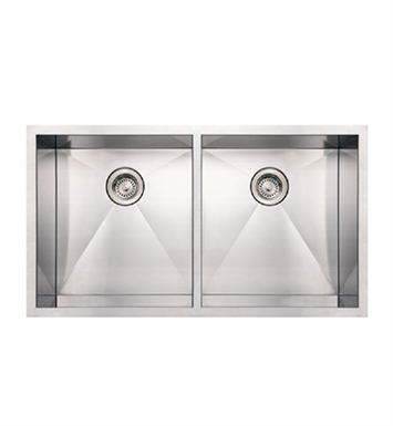 Whitehaus WHNCM3720EQ Noah's Collection Brushed Stainless Steel Commercial Double Bowl Undermount Sink