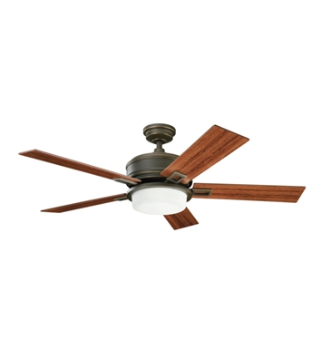 "Kichler 300140OLZ Talbot 52"" Indoor Ceiling Fan with 5 Blades, Cool-Touch Remote and Downrod"