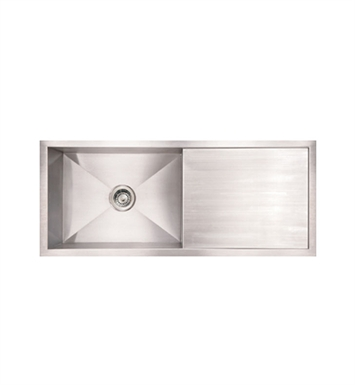 Whitehaus WHNCM4019 Noah's Collection Brushed Stainless Steel Commercial Single Bowl Undermount Sink with Integral Drainboard