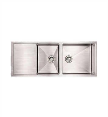 Whitehaus WHNCMD5221 Noah's Collection Brushed Stainless Steel Commercial Single Bowl Reversible Undermount Sink with an Integral Drain Board
