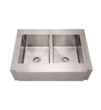 Whitehaus WHNCMAP3621EQ Noah's Collection Brushed Stainless Steel Commercial Single Bowl Sink with a Decorative Notched Front Apron