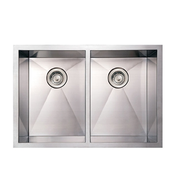 Whitehaus WHNCM2920EQ Noah's Collection Brushed Stainless Steel Commercial Double Bowl Undermount Sink