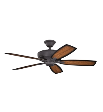 "Kichler 310103DBK Monarch II Patio 54"" Outdoor Ceiling Fan with 5 Blades, Cool-Touch Remote and Downrod"
