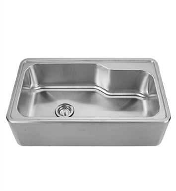 Whitehaus WHNAPB3016 Noah's Collection Brushed Stainless Steel Single Bowl Drop-in Sink with a Seamless Customized Front Apron