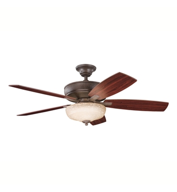 "Kichler 339213TZ Monarch 52"" Indoor Ceiling Fan with 5 Blades, Cool-Touch Remote and Downrod"