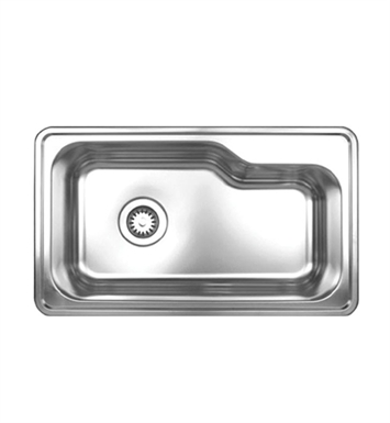Whitehaus WHNDB3016 Noah's Collection Brushed Stainless Steel Single Bowl Drop-in Sink