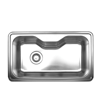Whitehaus WHNDA3016 Noah's Collection Brushed Stainless Steel Single Bowl Drop-in Sink