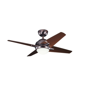 "Kichler 300147OBB Rivetta 42"" Indoor Ceiling Fan with 4 Blades, Cool-Touch Remote and Downrod"