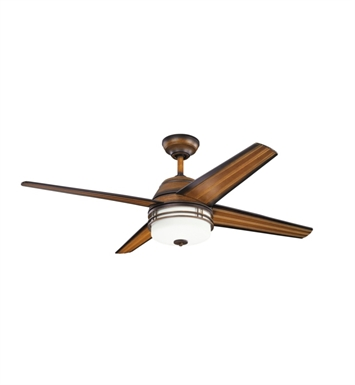 "Kichler 310110MDW Porters Lake 54"" Outdoor Ceiling Fan with 4 Blades and Downrod"