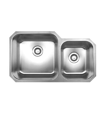 Whitehaus WHNDBU3320 Noah's Collection Brushed Stainless Steel Double Bowl Undermount Sink