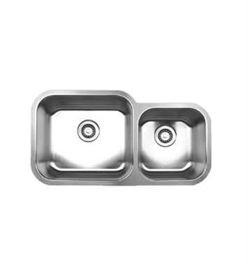 Whitehaus WHNDBU3318 Noah's Collection Brushed Stainless Steel Double Bowl Undermount Sink