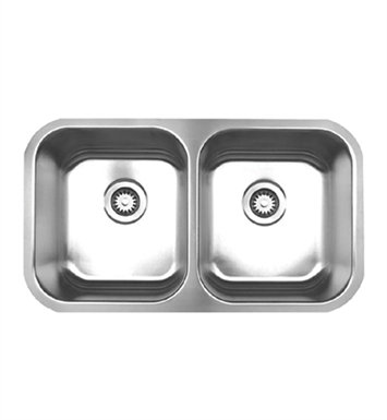 Whitehaus WHNEDB3118 Noah's Collection Brushed Stainless Steel Double Bowl Undermount Sink